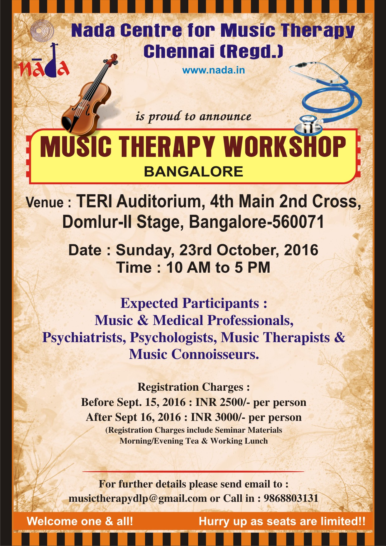 WELCOME TO JOIN THE BANGALORE WORKSHOP ON 23RD OCTOBER 2015!